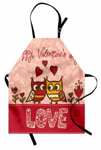 Aşık Baykuşlar Temalı Mutfak Önlüğü Pembe Kırmızı Şık