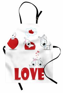 Kalpli Köpek Desenli Mutfak Önlüğü Aşk Temalı Kırmızı
