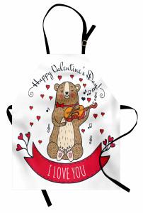 Kemancı Ayı Desenli Mutfak Önlüğü Kırmızı Kalp Aşk