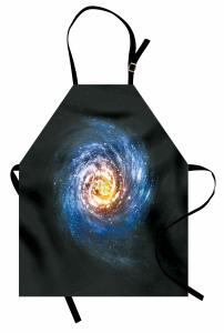 Kozmik Temalı Mutfak Önlüğü Sarmal Desenli Mavi Uzay