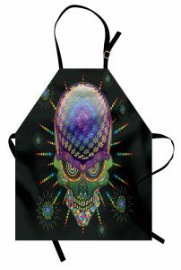 Çiçekli Kuru Kafalı Desen Mutfak Önlüğü Dekoratif
