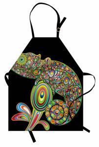 Lolipop Çiçek ve Bukalemun Mutfak Önlüğü Rengarenk