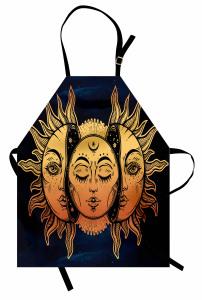 Güneşin Yüzü Desenli Mutfak Önlüğü Sarı Lacivert