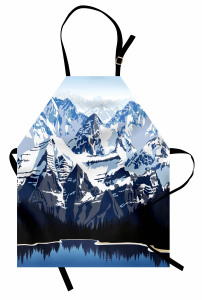 Karlı Dağ Gölü Desenli Mutfak Önlüğü Mavi Beyaz Kış