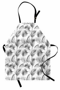 Palmiye Ağacı Desenli Mutfak Önlüğü Gri Dekoratif