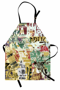 Yırtık Posterler Mutfak Önlüğü Kahverengi