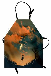 Balonlu Adam ve Gökyüzü Mutfak Önlüğü Turuncu
