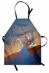 Noel Baba ve Hediyeleri Mutfak Önlüğü Mavi Şık