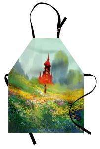 Kırdaki Kız Temalı Mutfak Önlüğü Yeşil Kale Çiçek