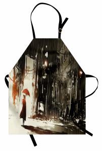 Şemsiyeli Kadın Temalı Mutfak Önlüğü Gri Şık Tasarım