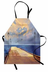 Köprü ve Gökyüzü Temalı Mutfak Önlüğü Sarı Mavi Deniz
