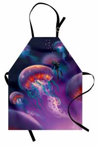 Denizanası ve Dalgıç Mutfak Önlüğü Mor Deniz