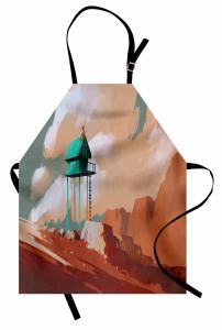 Yeşil Ev ve Gökyüzü Mutfak Önlüğü Kahverengi