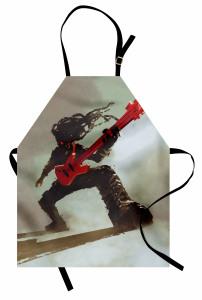 Kırmızı Gitar Müzisyen Mutfak Önlüğü Müzik