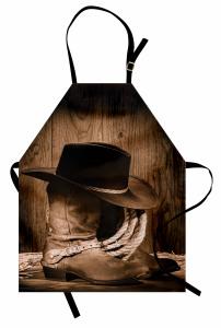 Kovboy Temalı Mutfak Önlüğü Şapka Çizme Kahverengi