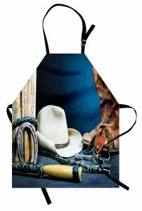 Kovboy Çizmesi ve Şapka Mutfak Önlüğü Lacivert