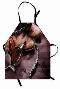 Kovboy Temalı Mutfak Önlüğü Çizme Çiftlik Kahverengi