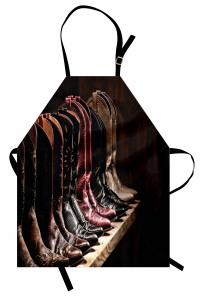 Kovboy Çizmeleri Temalı Mutfak Önlüğü Kahverengi Ahşap