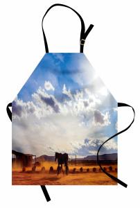 At ve Gökyüzü Temalı Mutfak Önlüğü Mavi Kahverengi