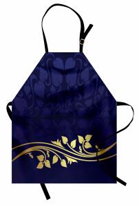 Lacivert Krem Çiçek Mutfak Önlüğü Şık Tasarım