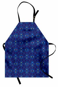Şık Lacivert ve Mavi Mutfak Önlüğü Geometrik