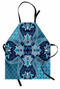 Çiçek Desenli Mutfak Önlüğü Trend Turkuaz Lacivert