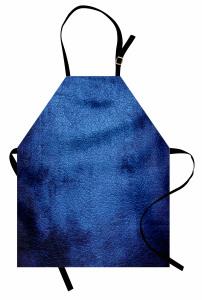 Trend Lacivert Desenli Mutfak Önlüğü Deri Görünümlü