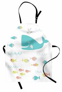 Mavi Balina ve Balık Mutfak Önlüğü Beyaz Fonlu