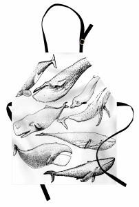 Siyah Beyaz Balina Mutfak Önlüğü Dekoratif
