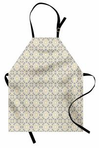 Geometrik Desenli Mutfak Önlüğü Gri Sarı Şık Tasarım