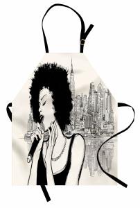 Müzik Temalı Mutfak Önlüğü Şarkıcı Kadın Portreli