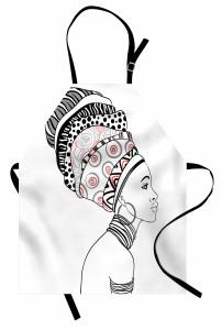 Afrikalı Kadın Portreli Mutfak Önlüğü Siyah Beyaz