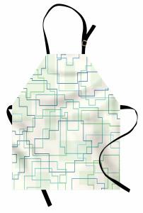 Geometrik Desenli Mutfak Önlüğü Yeşil Mavi Beyaz Şık