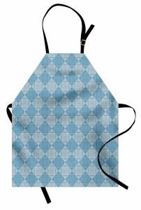 Dekoratif Mutfak Önlüğü Mavi Beyaz Kare Şık Tasarım