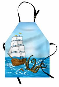 Kraken ve Yelkenli Mutfak Önlüğü Mavi Mitoloji