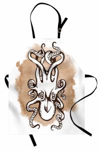 Kraken Temalı Mutfak Önlüğü Bej Şık Tasarım Ahtapot
