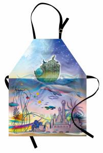 Su Altı Şehri Desenli Mutfak Önlüğü Gemi Deniz