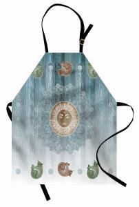 Mandala ve Güneş Desenli Mutfak Önlüğü Kedili