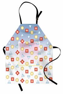 Mavi Beyaz Geometrik Desenli Mutfak Önlüğü Kare Daire