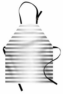 Gri Beyaz Şerit Desenli Mutfak Önlüğü Modern