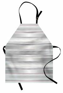 Gri Beyaz Zikzak Desenli Mutfak Önlüğü Şeritli