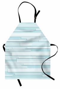Mavi Beyaz Şerit Desenli Mutfak Önlüğü Üç Boyutlu