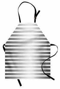 Parlak Şerit Desenli Mutfak Önlüğü Gri Beyaz