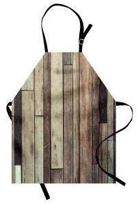 Ahşap Duvar Temalı Mutfak Önlüğü Kahverengi Trend