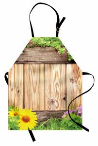Bahar Temalı Mutfak Önlüğü Ahşap Çiçek Kelebek Şık