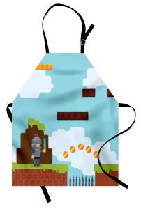 Bilgisayar Oyunu Temalı Mutfak Önlüğü Mavi Konsol