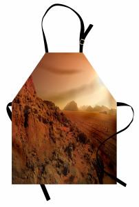 Kayalık Manzaralı Mutfak Önlüğü Kahverengi Yol Güneş