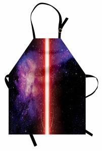 Işın Kılıcı Desenli Mutfak Önlüğü Uzay Temalı Kırmızı