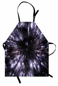 Yıldızlar ve Uzay Mutfak Önlüğü Gri Siyah Şık