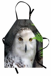 Kuş Portreli Mutfak Önlüğü Beyaz Şık Tasarım Doğa